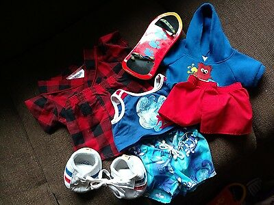 Build A Bear Boys Clothes Lot; Accessories; Checked Pajamas, skateboard, shoes