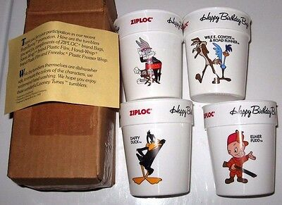 Vintage New Looney Tunes Happy Birthday Cup Set Ziploc Wile E Coyote Road Runner