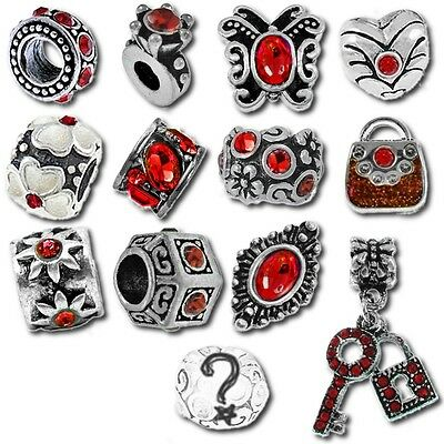 74fcfceeb Beads and Charms for European Charm Bracelets Red January July Birthstone