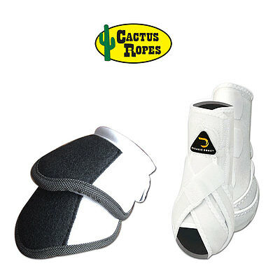 Small Cactus Dynamic Edge Horse Front Leg Sport Bell Boots Pair Combo White