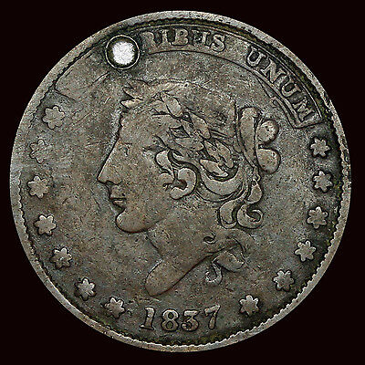 Large Cent 1837 Hard Times Token Not One Cent Liberty