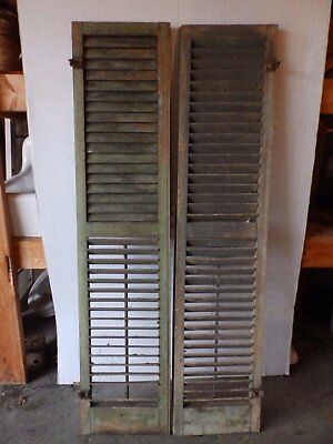 Pair Antique Shutters Door Window Louvered Vintage Painted Old 15x66 2237-16