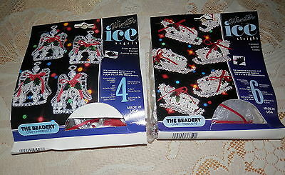 Lot 2 The Beadery Winter Ice Christmas Ornaments Kits, Sleighs, Ice Angels