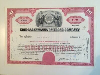 ERIE-LACAWANNA RAILROAD  Vintage Stock Certificate
