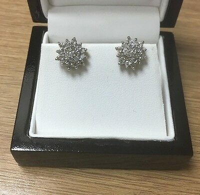 18ct Yellow Gold 1ct Carat Diamond Cluster Studs Earrings Brand New