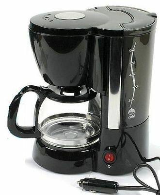 12V Electric Coffee Maker For 6 Cups Black Plug In Portable 170W Car Camping