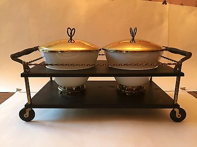 Fire King Double Warmer Chafing Dish, Vintage