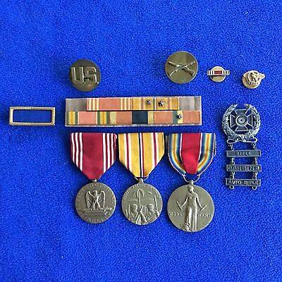 WWII US Army Medal Ribbon & Badge PUC Group - Pacific Theater - Not Named / ID'd