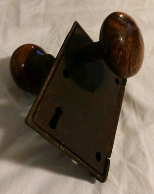 Antique Beautiful Door Lock With Brown Swirl Pattern Knobs!