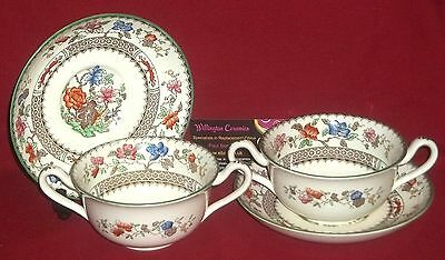 TWO Copeland Spode CHINESE ROSE Cream Soup Bowls and Stands - No.2