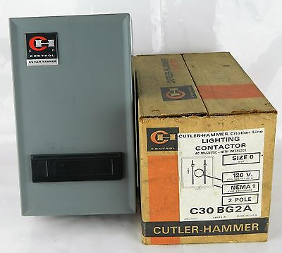 Genuine Cutler Hammer C30 BG2A Lighting Contactor Size 0 A1 AC Magnetic 2P New