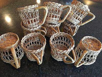 Set of 10 Vintage Wicker Coffee Imports Cup Mug Holders San Francisco
