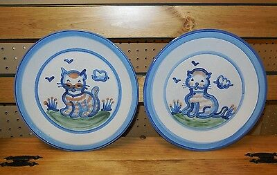 "Pair 2- M.A. Hadley Stoneware 11"" plate Hand Painted Cat / Kitty design signed"