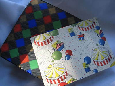 Vintage Christmas Wrapping Paper Circus and Harlequin