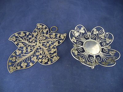 Antique Indian Silver Filigree Chukram coins Decorative Two Dishes