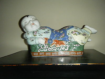 Large Porcelain Famille Rose Chinese Pillow Baby Very Colorful 16""