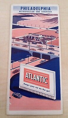 Vintage 1950's PHILADELPHIA AREA MAP by ATLANTIC OIL COMPANY