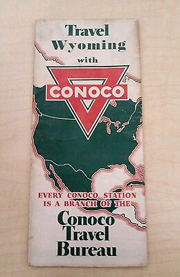 Vintage 1935 WYOMING Map by CONOCO Oil Co.