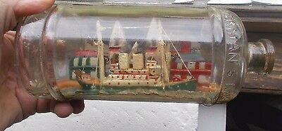 1915 Era Antique Ship In A Bottle Great 3 Dimensional Scenery Waterman's Ink