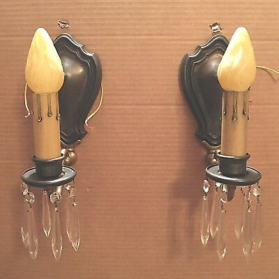Brass Sconces Vintage Antique Wired Pair Electric Candles