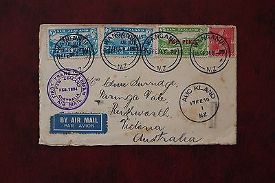 NEW ZEALAND TO AUSTRALIA 1934 Airmail  Four Stamps Including 5d Surcharge (SF49)