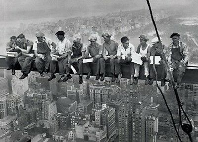 """LUNCH ATOP A SKYSCRAPER POSTER """"NEW YORK CONSTRUCTION WORKERS LUNCHING"""" 40X50cm"""