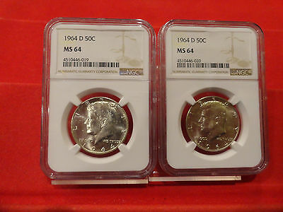 1964-D Silver Kennedy Half Dollars. MS 64 NGC  Two coin auction.
