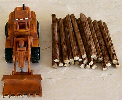 """HO Customed Weathered- RUBBER TIRE FRONT END LOG LOADER w/25 2-1/4"""" x 3/16"""" Logs"""