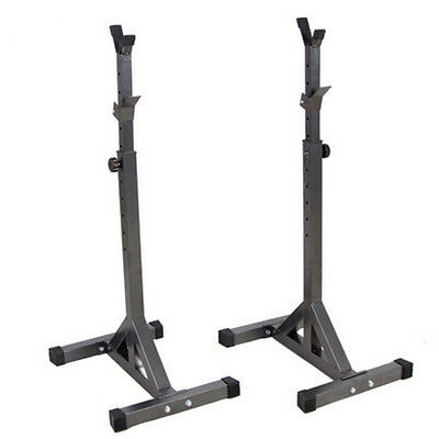 Brand New Fitness Squat Stands Home Gym Exercise Adjustable Barbell  Rack Shelf