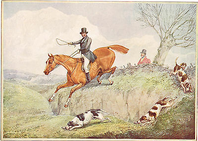 Fox Hunting, The First Over after Henry Alken Antique 1908 Print