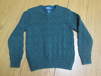 Polo by Ralph Lauren Boys Long Sleeve Dark Green Cotton Sweater Size 4/4T - EUC