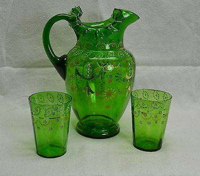 "Antique VICTORIAN GREEN BLOWN GLASS 10"" ENAMELED PITCHER & TUMBLERS -PONTIL MARK"