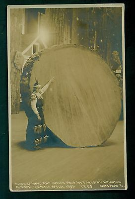 1909 Alaska-Yukon-Pacific Expo. Indian Maid in Forestry Building Photo Postcard