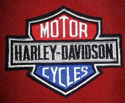 Harley Davidson 4.5'' by 3.5'' Red and Blue W/ gray Bar and Shield FREE SHIPPING