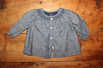 Baby Gap Girl Long Sleeve Denim Chambray Embroidered Top Size 3 6 Months Holiday