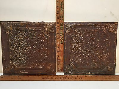 "2 - 12"" x 12"" Antique Ceiling Tin Tile Vintage Reclaimed Salvage Re Purpose Art"