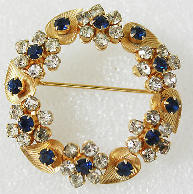 Vintage Victorian Style Sapphire and Clear Rhinestones Gold Tone Brooch Pin