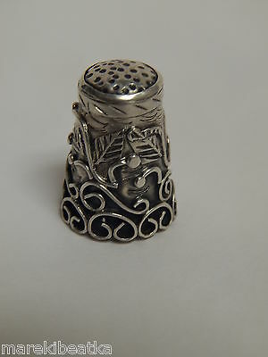 Vtg Mexican Taxco 925 Sterling Thimble - Berry & Vines Design