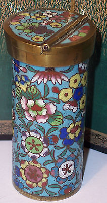 Antique Chinese Cloisonne Toothpick Holder Match Safe Vesta Case Box 1000 Flower