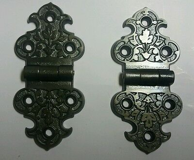 Awesome Pair Of Antique  Decorative Cast Iron Hinges Over 125 Years Old!!
