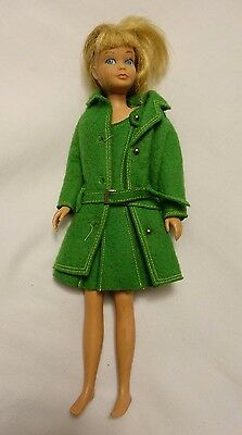 Vintage 1964 Blond Skipper Barbie Doll in Green Coat and Dress. VG