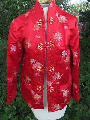 "NWOT Chinese Nehru Mandarin Reversible Jacket Red & Gold brocade satin 36"" bust"