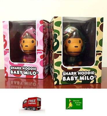 Brand NEW Medicom Toy Baby Milo Shark Hoodie Figure Set (Green & Pink)