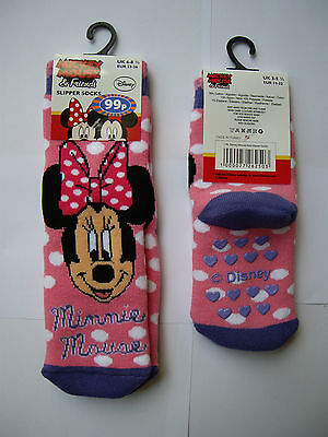 MINNIE MOUSE Winter Slipper Socks, Pink Spotted, UK 9-12 / EUR 27-30 NEW