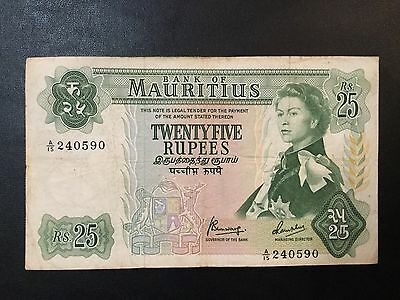 1967 Mauritius Paper Money - 25 Rupees Banknote !
