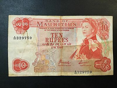 1967 Mauritius Paper Money - 10 Rupees Banknote !