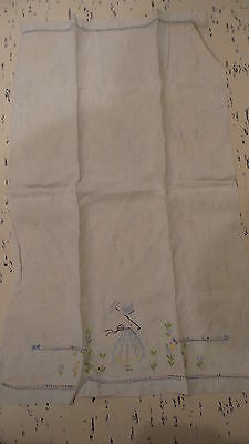 Vintage Linen Embroidered Guest, HAND TOWEL, Colonial Lady, Parasol, Pastel
