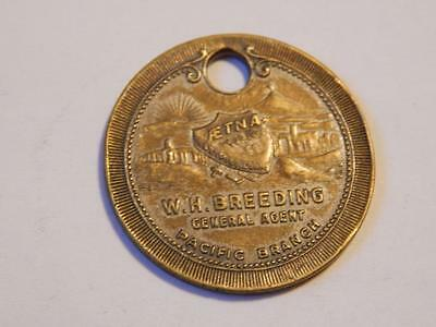 Vintage W.h. Breeding, Agent, Pacific Branch Pictorial Keytag Token