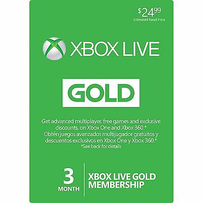 Microsoft 3 Month Xbox Live Gold Membership Play Today ⚡⚡⚡