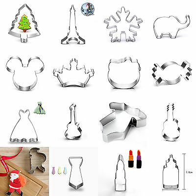 Xmas Stainless Steel Cookie Cutter Biscuit Jelly Party Fondant Cake Mold Tool